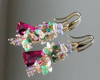 FLASH SALE Pink Tourmaline Quartz Earrings Colorful Gem Opal Cluster Earring 14kt Gold Fill Chain Dangle Boho Chic Pink Green Pastel Cluster