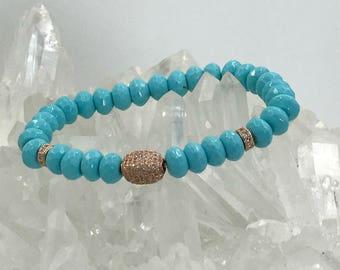 Stretch Bracelet Stack Bracelet Turquoise Bracelet Rose Gold CZ Bead Yoga Bracelet Stretch Layering Beach Bracelet Turquoise Boho Bracelet