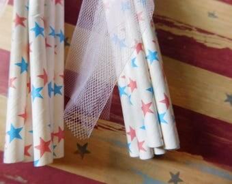 Two Dozen Paper Party Straws - Patriotic July Fourth Theme