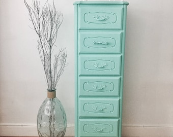 Vintage distressed antique turquoise tall lingerie french dresser