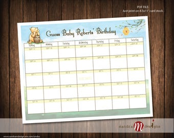 Classic Winnie the Pooh Baby Shower Guess Due Date Calendar