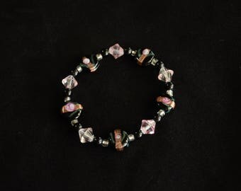 Black, Rose, Copper Stretch Bracelet