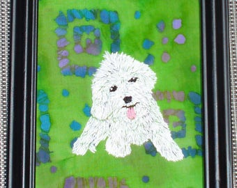 Bichon Frise Dog Portrait, Hand Embroidered, Framed