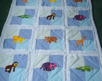 Wild Animals Crib Quilt for Boy Babies, Hand Appliqued, Hand Quilted