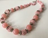 Pretty in Pink Mid-Century Vendome Glass and Cage Bead Necklace