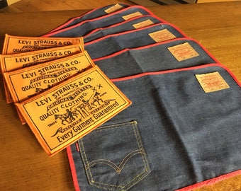 Super Groovy 1970's Now! Designs Cotton Denim Levi Strauss Levi's Big E Placemats and Trivets