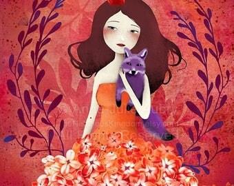 50% Off - Summer SALE Purple Fox - open edition print