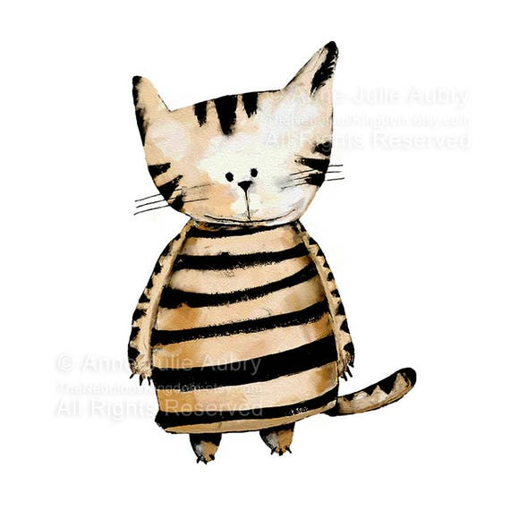 50% Off - Summer SALE - Striped Cat - open edition print