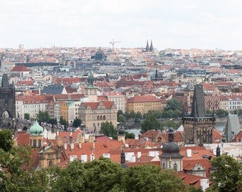 Prague Photography, Charles Bridge and the old city from above, Architecture, Rebecca Plotnick, Prague Castle, Birdseye view of Prague
