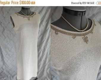 "ON SALE 60s Dress //  Vintage 1960s Ivory Cream Knit Semi Sheer Wiggle Dress with Taupe Trim Size M L 30"" waist wedding"