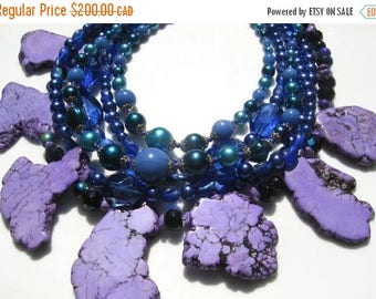 ON SALE Statement purple and blue necklace with vintage, turquoise and glass beads