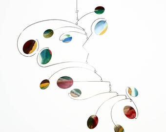 Hanging Mobile for Relaxing Moments - READY TO SHIP - Soft Colors On One Side and Brighter Colors on the Other