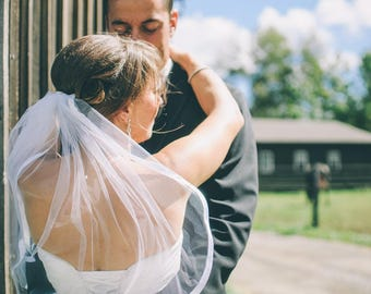 Wide Satin Wedding Veil, Soft Tulle & Silky Ribbon Wedding Veil, Elegant Wedding Veil, Bridal Hair Piece, Simple Wedding Vail