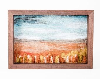 Wool Landscape Fiber Art Painting - Needle Felted Landscape - Wheat Fields (9x13 Handcrafted Walnut Frame)