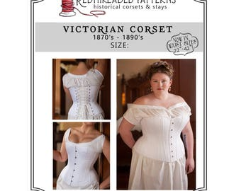 """PDF Corset Pattern, Plus Size 24/ 40"""" Waist, Printable Victorian Sewing Pattern for Civil War, Bustle Era, Romantic, Instructions Included"""