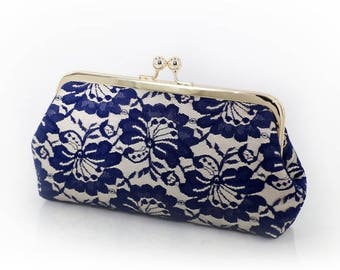 HALF PRICE SALE Champagne and Navy Camellia Lace Bridal Clutch + Gold frame | Gift for Mothers Clutch Ready To Ship