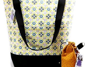 Studio Tote Extra Large Knitting Project Crochet WIP Tote Bag - Woven Floral
