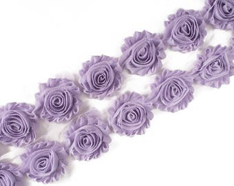 "Lilac : 14 Flowers  | 2.5"" Chiffon Craft Roses for Headband DIY Kits 