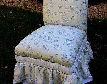 Shabby Chic Upholstered Vintage Slipper Chair with Ralph Lauren Blue Rose Linen, Voile Underskirt