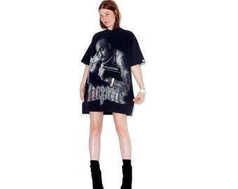OMG coolest vintage TUPAC SHIRT with bling / vintage 90s tupac t shirt oversized t shirt dress shirt dress tshirt dress 90s hip hop clothing