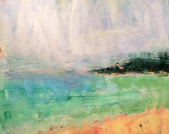 Seashore ocean sea beach painting  11 x 14 inch painting ready to hang on paper on stretched canvas