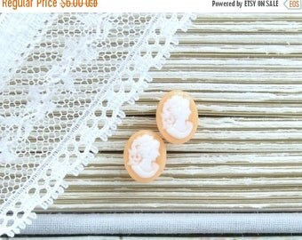Cameo Earrings Orange Stud Earrings Victorian Earrings Hypoallergenic Cameo Studs Small Earrings