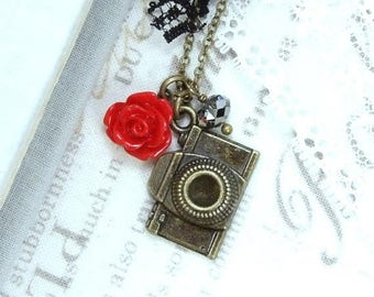 Photography Necklace Camera Charm Necklace Photographer Gift Red And Black Necklace Camera Gift