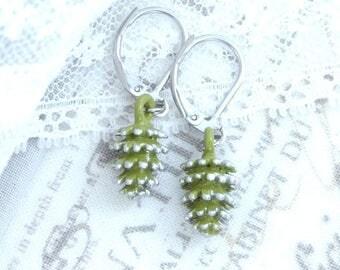 Silver Pine Cone Earrings Surgical Steel Earrings Winter Earrings Small Drop Earrings Pine Cone Dangle Earrings