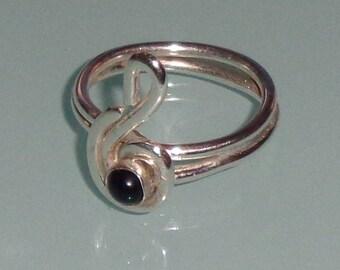 Sterling Silver Black Onyx Treble Clef Ring Music