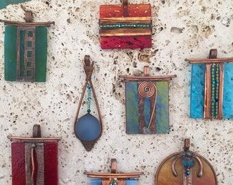Glass pendants, Art Deco , Art Nouveau, copper, swarovski