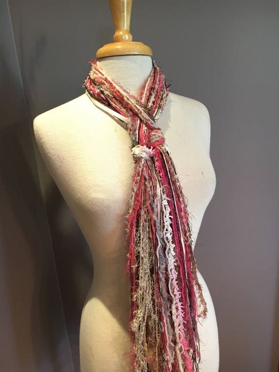 Fringie in Pink and Cream Fringe Scarf, boho chic scarf, breast cancer awareness, cancer survivor, girl accessory