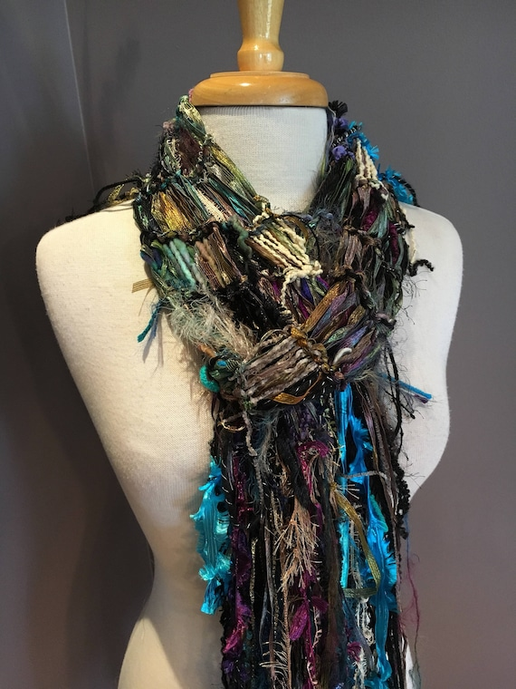 Hand knit Fringed Scarf, Ribbon scarf, multicolor scarf, lightweight scarf, spring fashion scarf for women, short scarf, boho wrap, hand dye