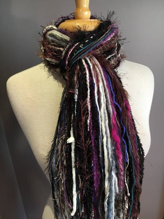 Fringie Scarf, Very Berry, Knotted handmade Scarf, Purple Fuscia black blue, fringe scarf, boho fashion, accessories, ribbon scarf, artwear