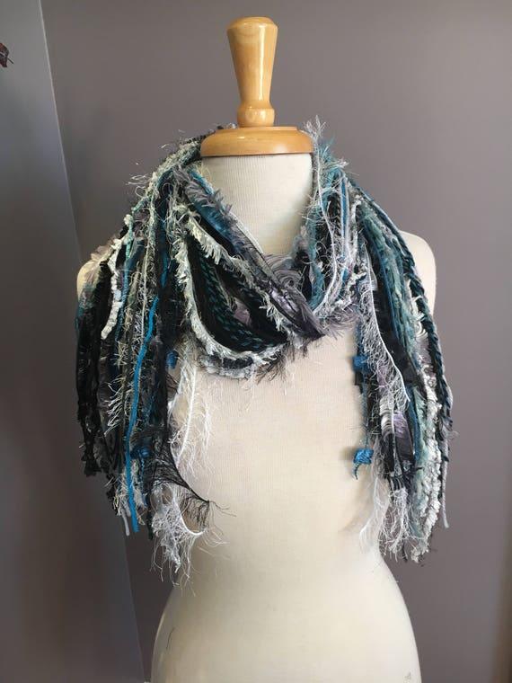 Fringie in Aquafina, Fringe Scarf, Handmade hand-tied art fringe scarf in teal aqua greys, bohemian, gifts, long scarf, ribbon scarf