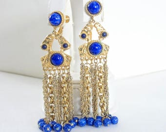 Vendome Long Blue Earrings Swag Chains Beads Cabochon Vintage