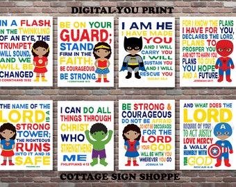 African American Superhero Scriptures, Boys and Girls Superhero Scripture Art,DIGITAL, YOU PRINT, Girls and Boys Superhero Scriptures