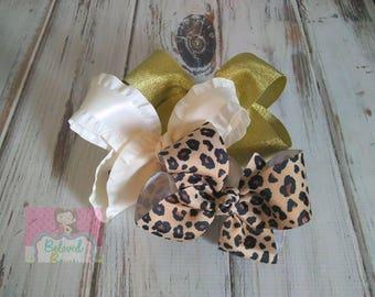 Set of 3 Boutique Hair Bows, Cheetah Hair Bow, Ivory Ruffle Hair Bow, Gold Shimmer Hair Bow, Jungle Hair Bow Set, Zoo Trip Hair Bow Set