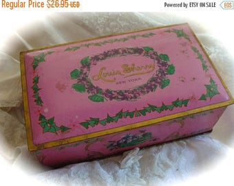 ON SALE Antique Paris New York 1900s Candy Hinged Tin