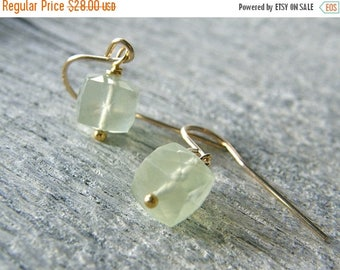 Summer Sale 20% Off Green Prehnite and Gold Dainty Cube Earrings