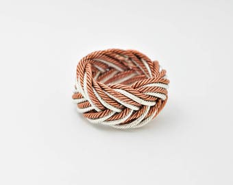 Fine silver, copper, twisted wire, woven, ring, a knot ring, Turks head, monkey fist, one of a kind, handmade, gift for mom, wedding, unisex