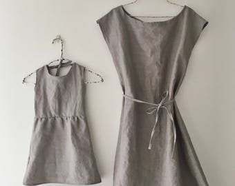 Mommy and me linen dress set / mummy and me / matching gray linen dresses / womens & girl linen dress / coming home take home outfit babies
