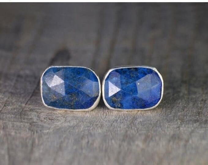 Summer Sale Lapis Lazuli Cufflinks Set In Sterling Silver, Something Blue Wedding Gift For Him, Handmade In UK