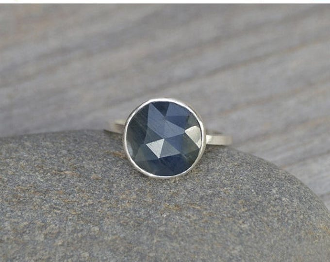 Summer Sale Rose Cut Sapphire Ring, Over 2.5ct Sapphire Ring, Something Blue Wedding Gift