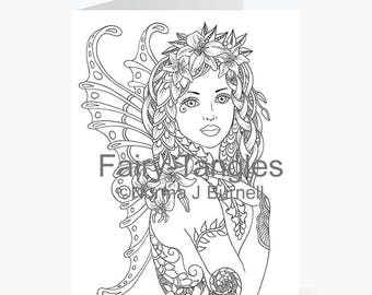 Printable Fairy Tangles Greeting Cards to Color by Norma J Burnell 5 x 7 Lily flower fairy Card for Coloring Card Making & Adult Coloring