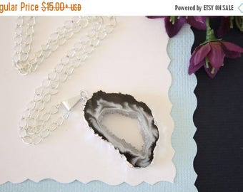 ON SALE Geode Necklace Silver, Crystal Necklace, Geode Agate Slice, Boho Jewelry, Druzy Pendant, Vegan, Silk Jewelry, Natural Geode, GS26