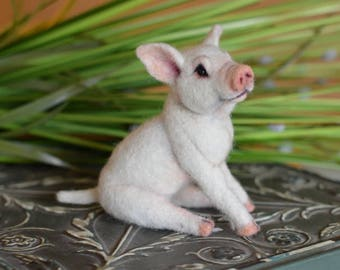 Pig O Let Piglet Realistic farm Animal OOAK  Needle felted Fiber Arts Sculpture Artist Doll by Stevi T.