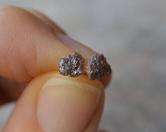 Genuine Diamond Stud Earrings Rough Diamond Crystal Earrings April Birthstone Brown Diamonds