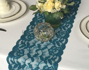 Peacock Teal Lace Table Runner Wedding Table Runner LP10
