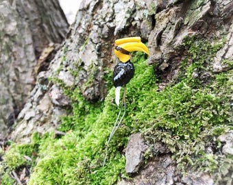 5 Tiny Great Hornbill / Miniature Great Hornbill/ Great HornbillTerrarium Accessory/ Fairy Garden Accessory