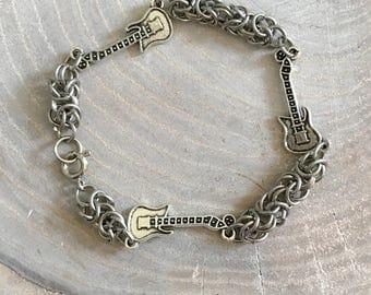 Guitar Charm Chainmail Bracelet Stainless Steel Byzantine